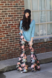 Beguiling Black Floral Metallic Bell Bottoms - Atomic Wildflower