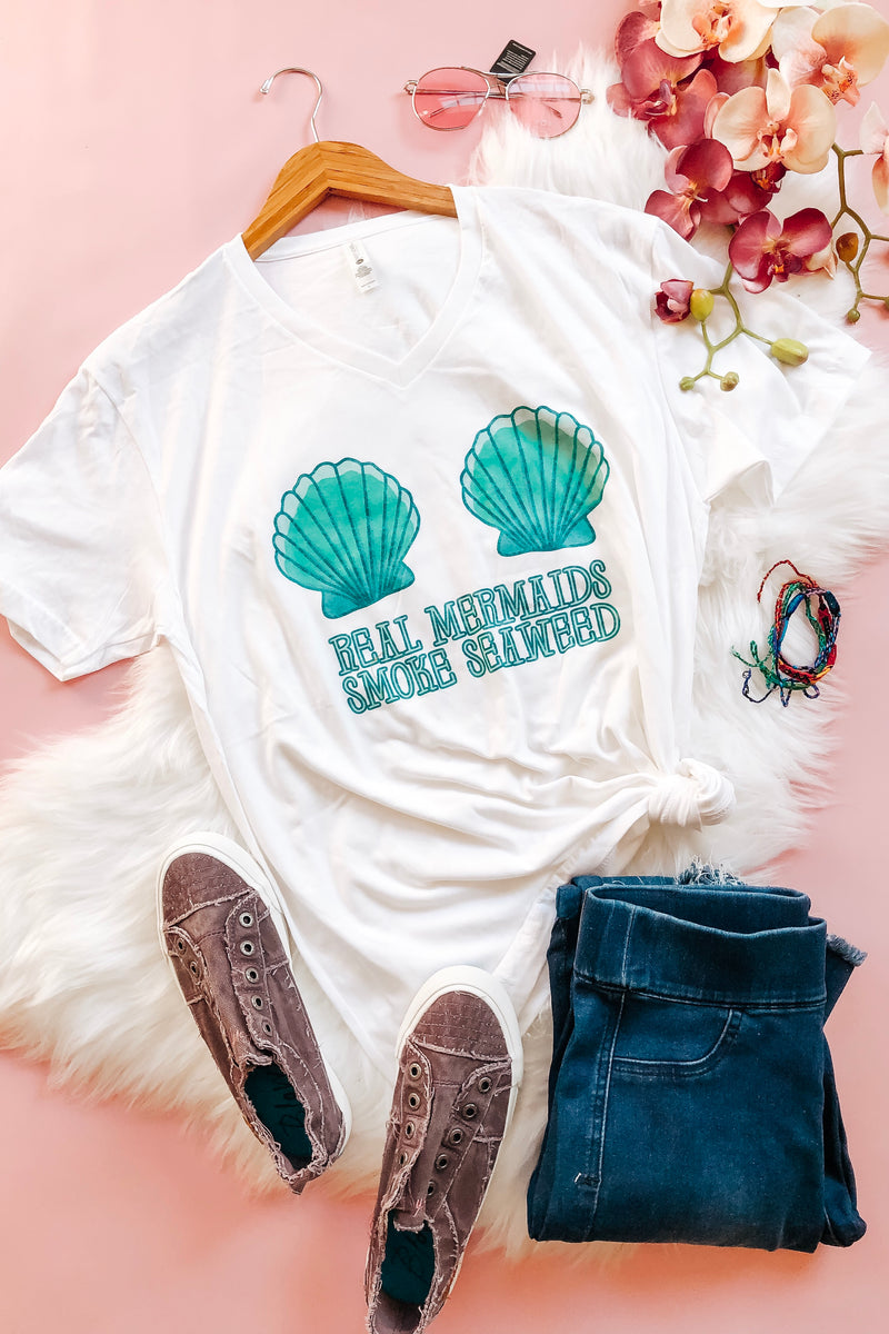 """Real Mermaids Smoke Seaweed"" Tee - Atomic Wildflower"