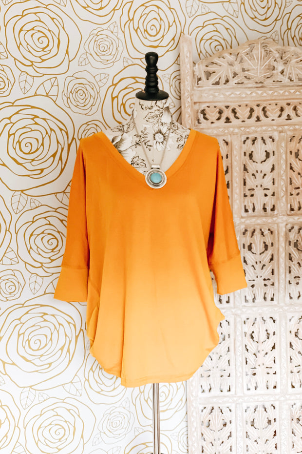 Vamp V Neck Boyfriend Top - Mustard - Atomic Wildflower