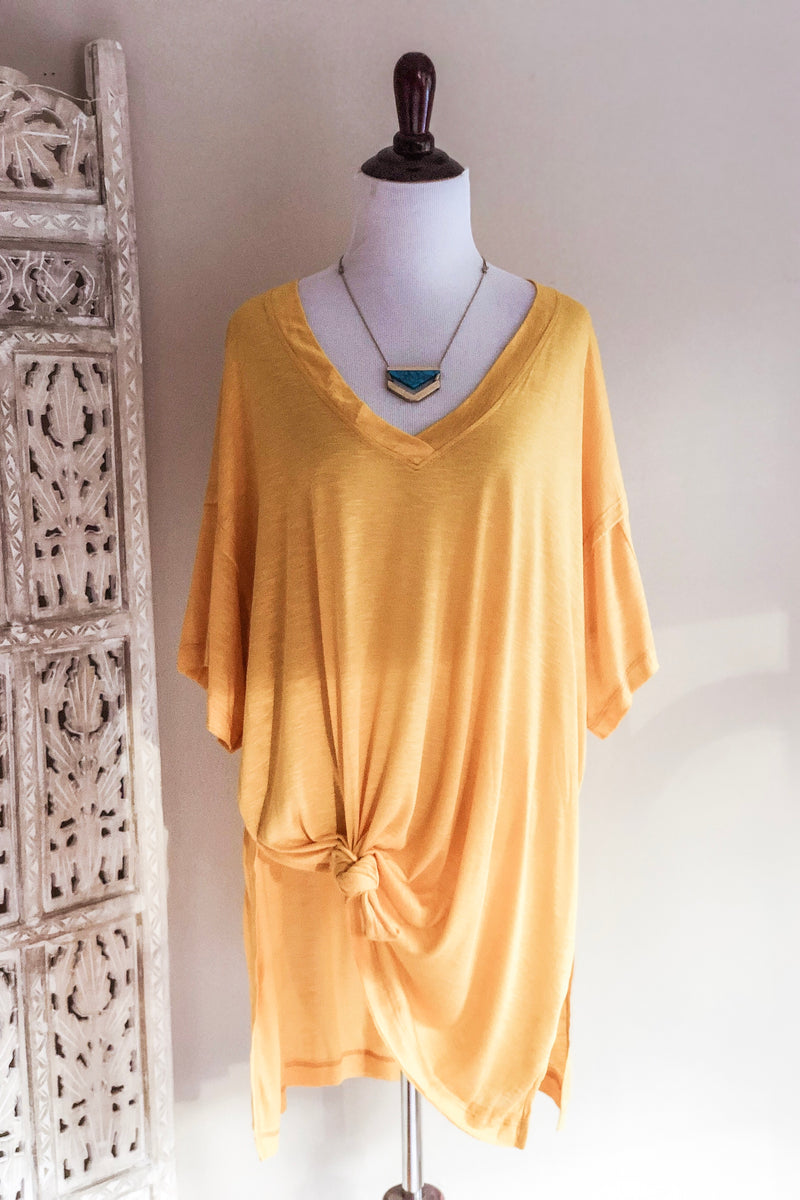 Mellow Yellow V-Neck Oversized Tee - Atomic Wildflower