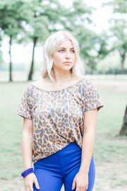 Better Yet Boyfriend Top in Vintage Leopard - Atomic Wildflower