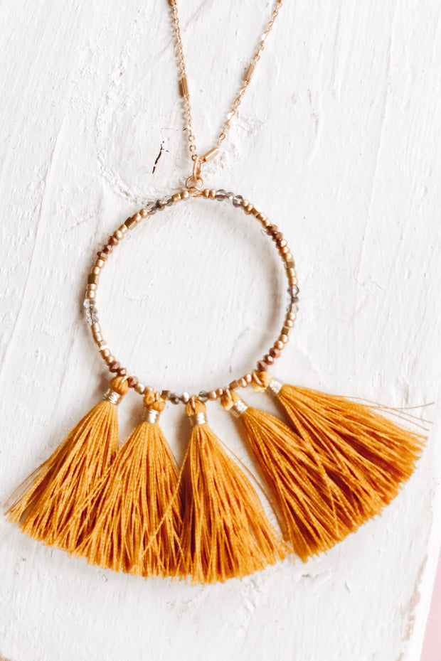Too Shy Tassel Necklace - Atomic Wildflower