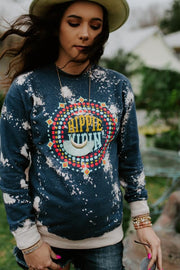 Hippie Vibin' Bleached Sweatshirt - Atomic Wildflower