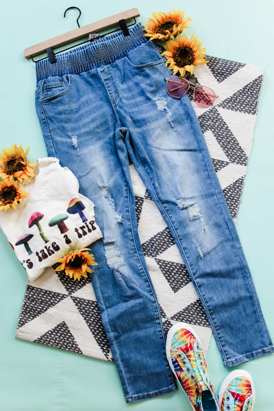 Bad Mama Pull On Skinny Jeans • Denim - Atomic Wildflower