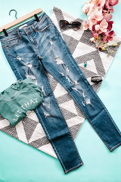 Judy Blue Monica Extra Distressed Skinny Jeans - Atomic Wildflower