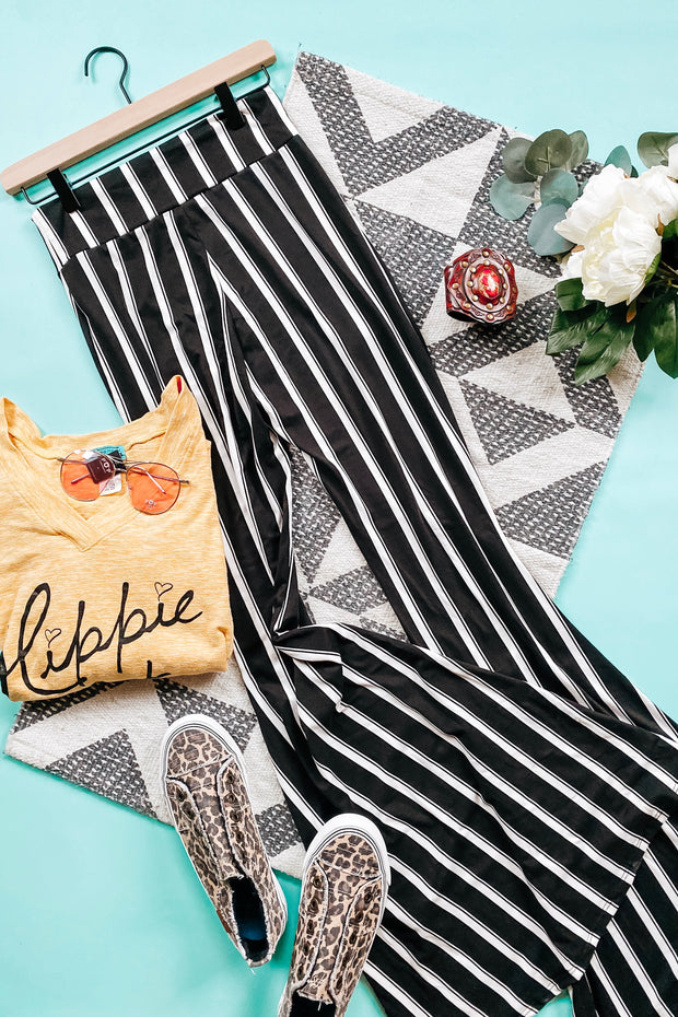 Sizzling Stripes Black + White Bell Bottoms - Atomic Wildflower