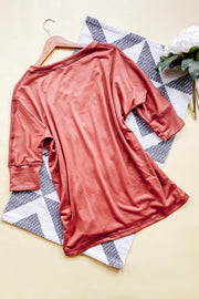 Vamp V Neck Boyfriend Top - Marsala - Atomic Wildflower