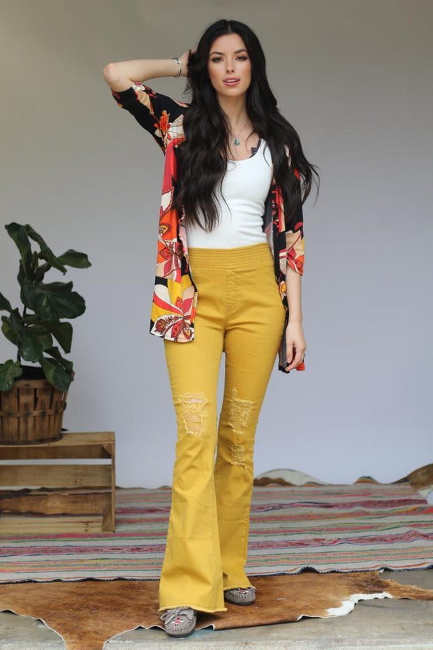 Divinely Distressed Denim Flares - Mustard - Atomic Wildflower