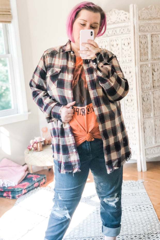 Free Spirit Frayed Edge Flannel - Cream + Multi - Atomic Wildflower