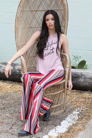 Say It With Stripes Bell Bottoms - Atomic Wildflower