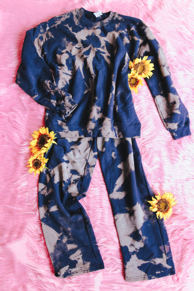 Bring It On Bleached Jogger Set • Navy - Atomic Wildflower