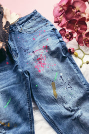 Paint Stain Boyfriend Jean - Atomic Wildflower