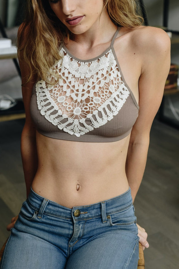 Mocha Boho Crotchet High Neck Bralette - Atomic Wildflower