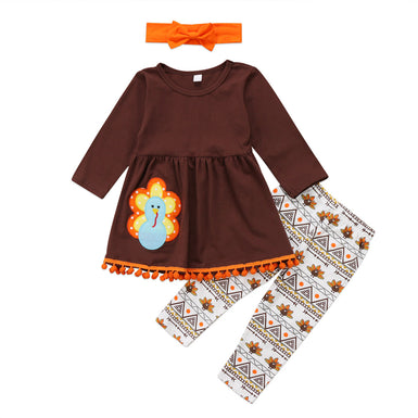 Thanksgiving Turkey Pompom Toddler Girl Outfit 2018 - Fairybi