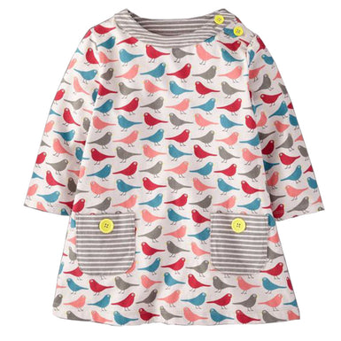 Bird Pattern Print Long Sleeve Dress for Toddlers Girsl Fall season - Fairybi
