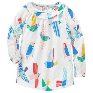 Fall Long Sleeve Colorful Birds Pattern Shirt for Toddler Girl - Fairybi