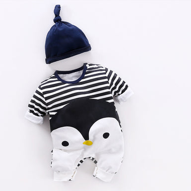 2018 Penguin Printed Blue Striped Baby Romper 2pcs Set - Fairybi