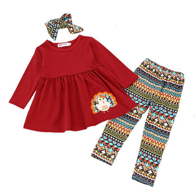 Thanksgiving Turkey Toddler Girl 3pcs Outfit 2018 - Fairybi