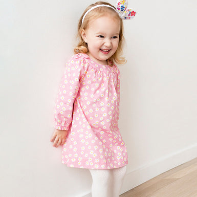 Sweet Pink Daisy Long Sleeve dresses for Toddlers Kids Girls - Fairybi