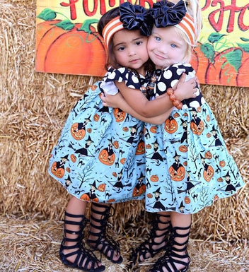 2018 The Newest Witchy Pumpkin Polka Dots Halloween Dress for girls - Fairybi