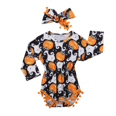 Fancy Baby Pumpkin Pompom Romper 2018 - Fairybi