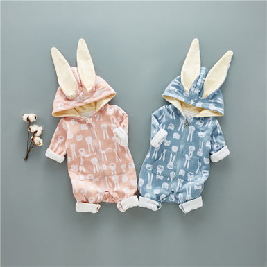 2018 New Exclusive Cute Rabbit Printed Baby Hooded Jumpsuit - Fairybi