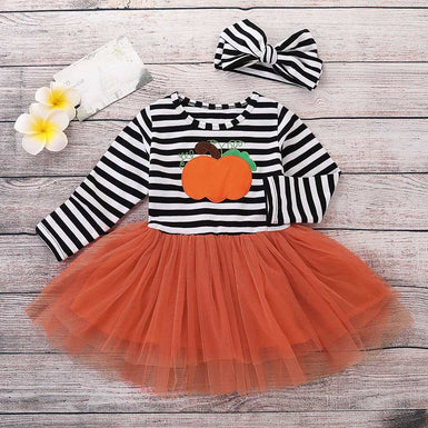2018 Pumpkin Applique Black Stripped Halloween Toddler Dress - Fairybi
