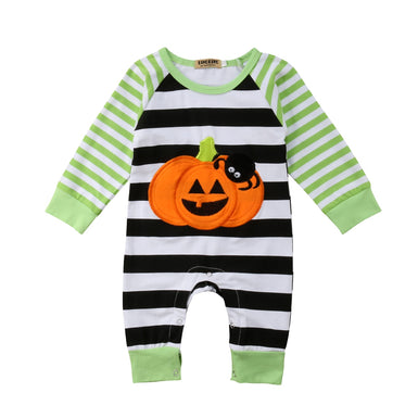 Best New Multi-Striped Halloween Pumpkin Romper 2018 - Fairybi