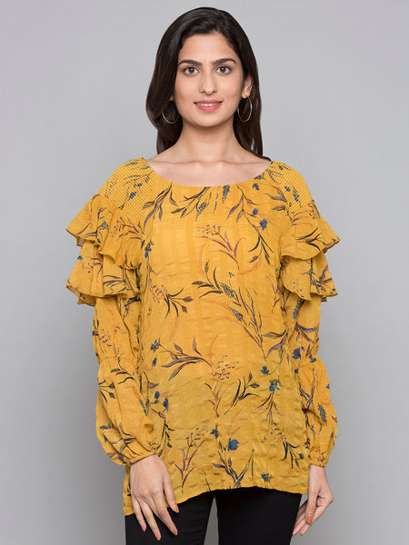 Printed Ruffled Sleeves Top