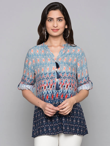 Printed Ombre  Top With Pom Pom Detail On Neck
