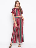 Stripes Crop Top & Wide Leg Pants Set