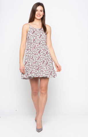 White Ditsy Print Dress