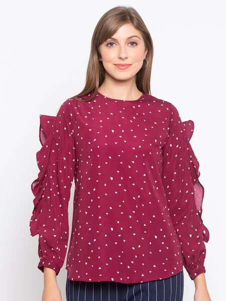 Ditsy Printed Cut Out Frill Sleeves Blouse