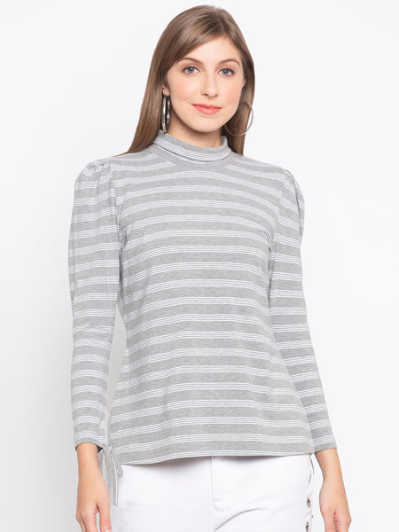 Turtleneck Puff Sleeve Stripes T-Shirt