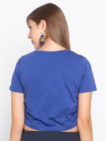 Solid Side Drawstring Ruched T-Shirt