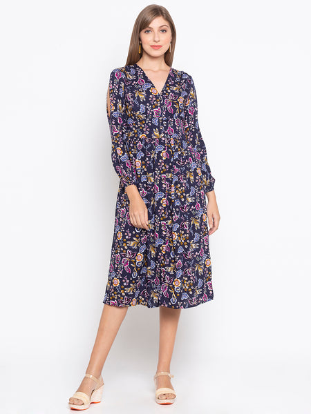 Flower Printed Cut Out Shoulder Midi Dress