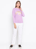 Drop Shoulder Front Print Sweatshirt