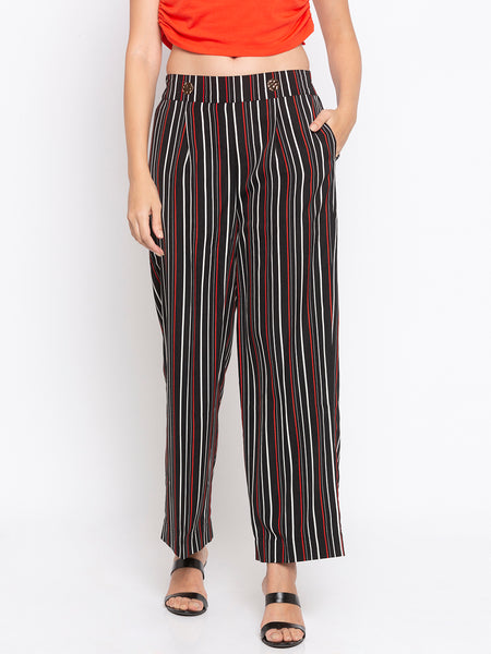 Stripes Buttoned Front Palazzo Pants