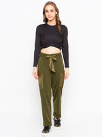 Solid Twist Front Crop Tee