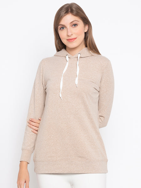 Solid Hooded Sweatshirt With Drawcord