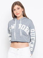 Letters Print Crop Hooded Sweatshirt