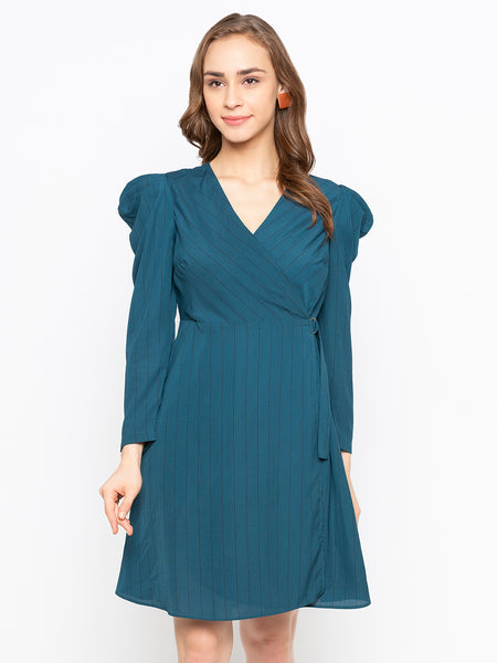Strips wrap full Sleeves Dress