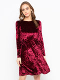 Solid V Back Fit And Flare Velvet Dress