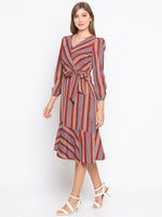 Stripes Wrap Front Side Knot Dress