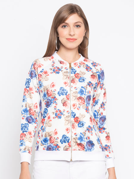 Ribbed Trim Flower Print Jacket