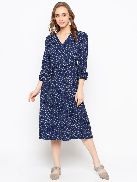 Ditsy Printed Buttoned V-Neck Wrap Dress