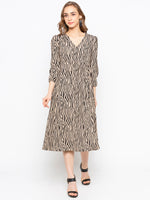Zebra Printed Buttoned V-Neck Wrap Dress