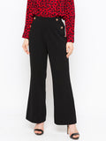 Solid High Waist Flare Hem Button Front Pant