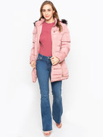 Solid Quilted Puffer Coat With Fur Hood