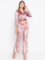 Solid Wrap Front Tie-up Blouse With Flared Pant Set